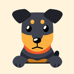 Blue and orange dog illustration
