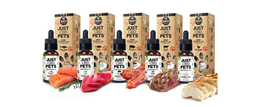 justcbd pet tinctures products on white