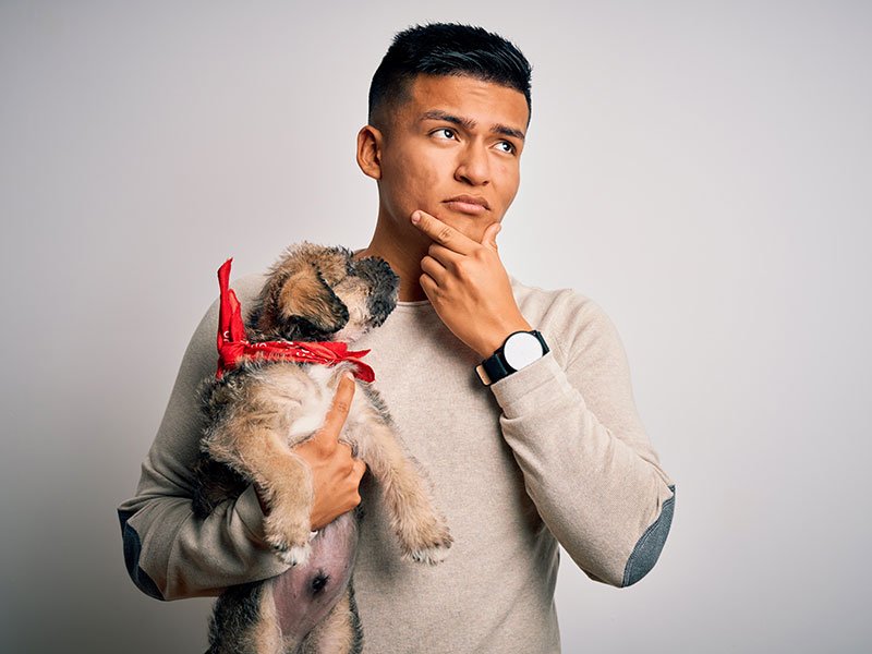 man holding cute puppy pet over isolated white background serious face thinking